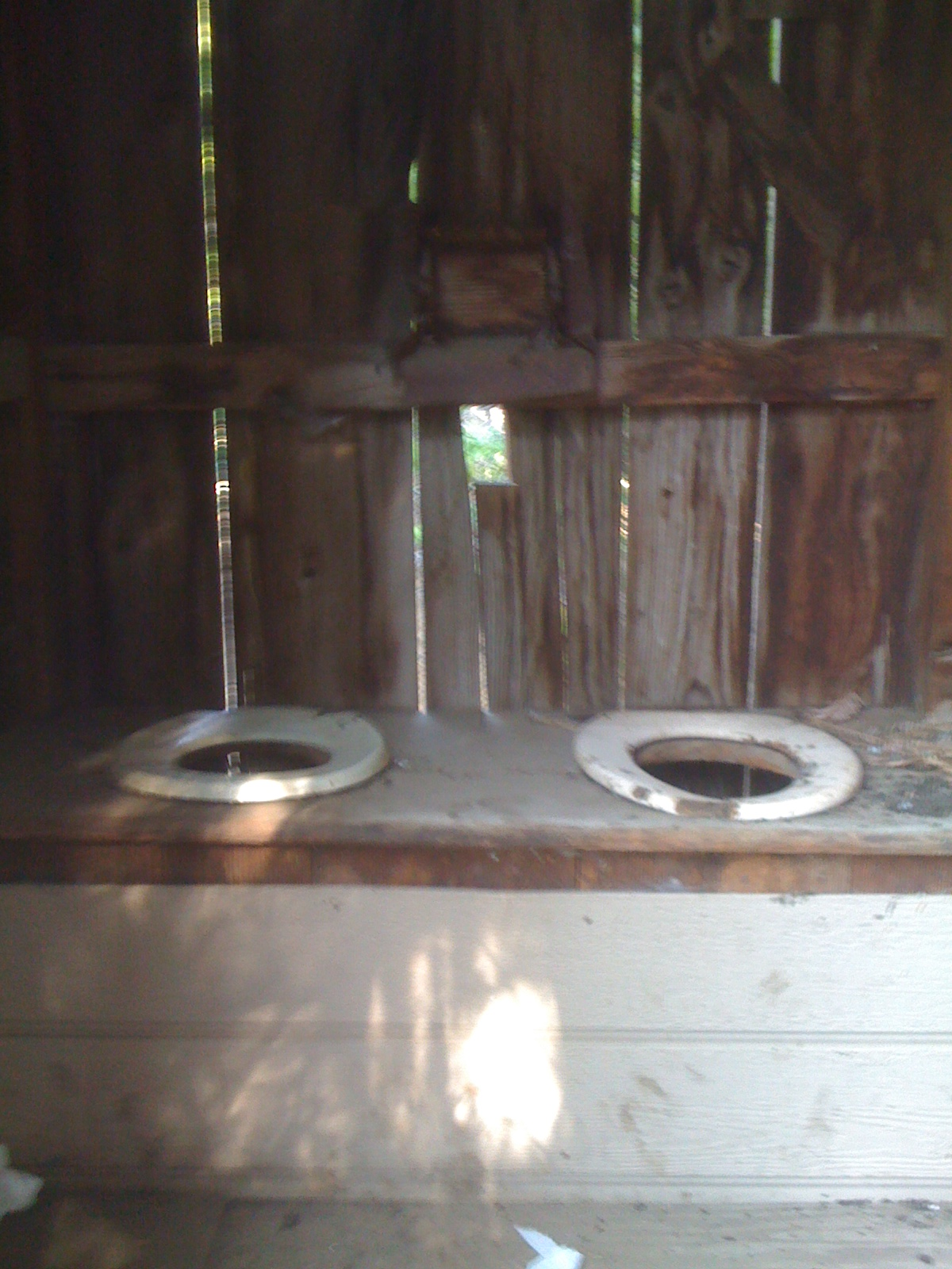 Double seat outhouse - his & hers outhouse - Soda Mountain Wilderness